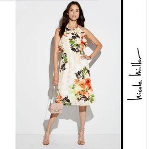 Nicole Miller Studio Floral-Print Ruffle Dress
